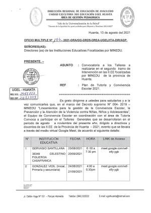 OFICIO MÚLTIPLE N° 196 -2021 -GRA/GG-GRDS-DREA-UGELHTA-DIR/AGP.