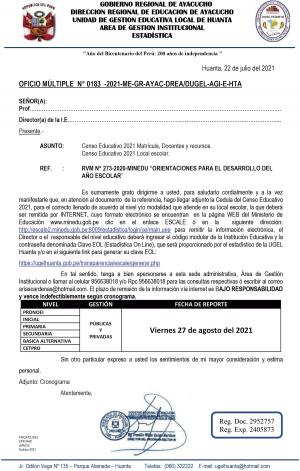 OFICIO MÚLTIPLE N° 0183 -2021-ME-GR-AYAC-DREA/DUGEL-AGI-E-HTA