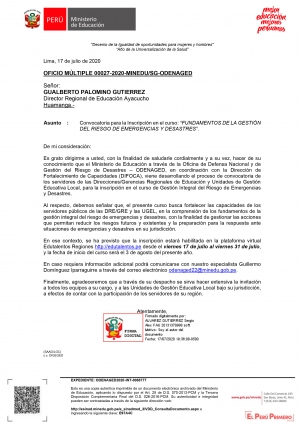 OFICIO MÚLTIPLE 00027-2020-MINEDU/SG-ODENAGED