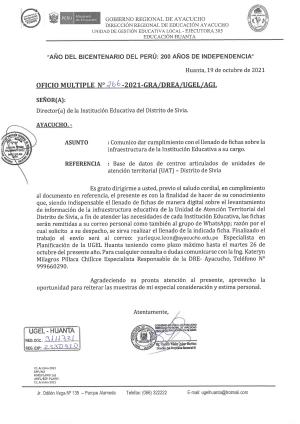 OFICIO Nº 266- 2021-GRA/DREA/UGEL/AGI