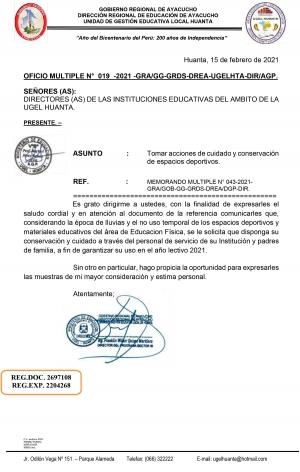 OFICIO MULTIPLE N° 019 -2021 -GRA/GG-GRDS-DREA-UGELHTA-DIR/AGP.