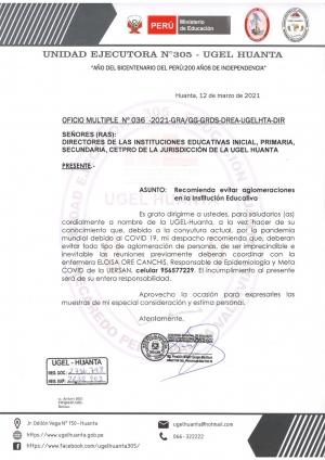 OFICIO MÚLTIPLE N° 036 -2021-GRA/GG-GRDS-DREA-UGELHTA-DIR