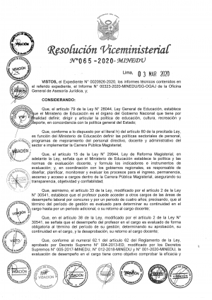 RESOLUCIÓN VICEMINISTERIAL Nº 065-2020-MINEDU