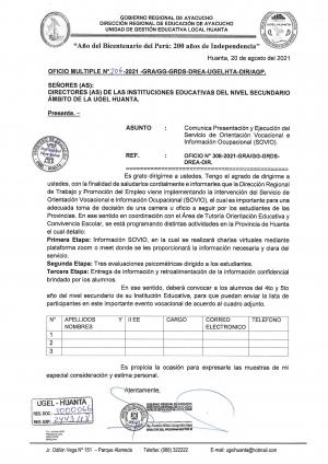 OFICIO MÚLTIPLE N° 206 - 2021 - GRA/GG-GRDS-DREA-UGELHTA-DIR/AGP.