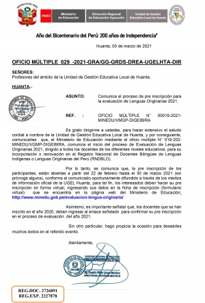 OFICIO MÚLTIPLE 029 -2021-GRA/GG-GRDS-DREA-UGELHTA-DIR