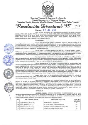 RESOLUCIÓN DIRECTORAL Nº 2034