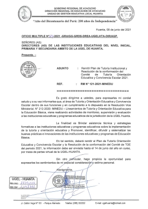 OFICIO MULTIPLE N° 124 - 2021 - GRA/GG-GRDS-DREA-UGELHTA-DIR/AGP