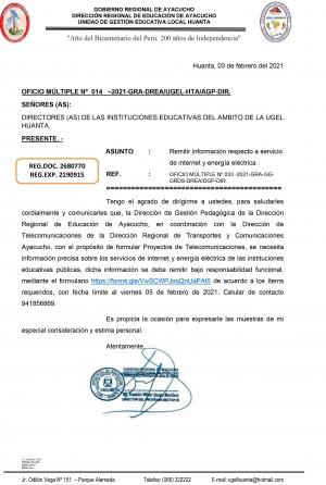 OFICIO MÚLTIPLE Nº 014 –2021-GRA-DREA/UGEL-HTA/AGP-DIR
