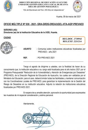 OFICIO MÚLTIPLE Nº 030 - 2021- GRA-GRDS-DREA/UGEL-HTA-AGP-PREVAED