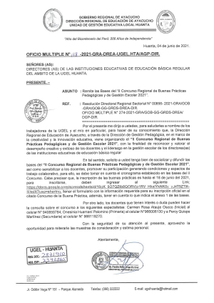 OFICIO MULTIPLE N° 118 - 2021 - GRA/GG-GRDS-DREA-UGELHTA-DIR/AGP