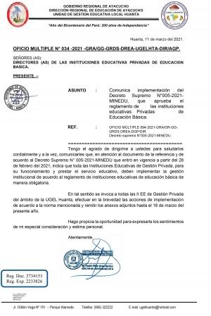 OFICIO MULTIPLE N° 034 -2021 -GRA/GG-GRDS-DREA-UGELHTA-DIR/AGP.