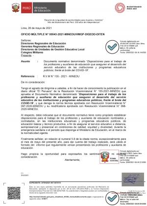 OFICIO MÚLTIPLE N° 00043-2021-MINEDU/VMGP-DIGEDD-DITEN