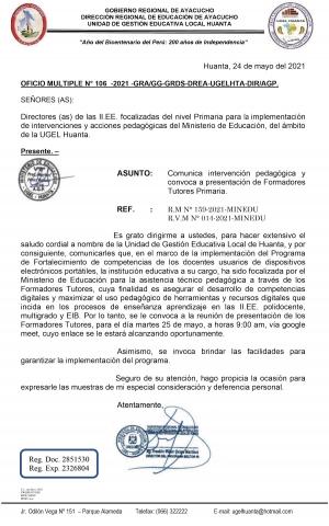 OFICIO MULTIPLE N° 106 -2021 -GRA/GG-GRDS-DREA-UGELHTA-DIR/AGP.