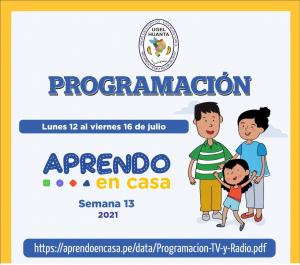 PROGRAMACIÓN DE APRENDO EN CASA DEL 12 AL 16 DE JULIO 2021