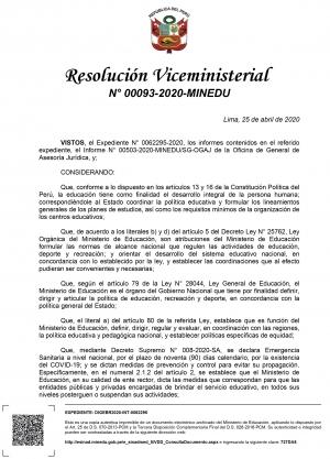 Resolución Viceministerial Nº 00093-2020-MINEDU