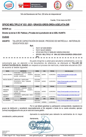 OFICIO MÚLTIPLE N° 033 -2021- GRA/GG-GRDS-DREA-UGELHTA-DIR