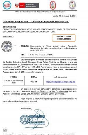 OFICIO MULTIPLE Nº  039-2021-GRA-DREA/UGEL-HTA/AGP-DIR.