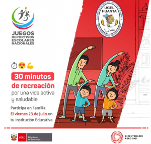30 MINUTOS DE RECREACIÓN POR UNA VIDA ACTIVA Y SALUDABLE DE MANERA VIRTUAL