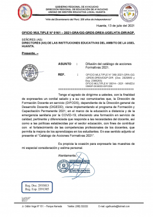 OFICIO MULTIPLE Nº 0161 – 2021-GRA/GG-GRDS-DREA-UGELHTA-DIR/AGP.