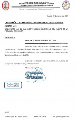 OFICIO MÚLT. Nº 049 –2021-GRA-DREA/UGEL-HTA/AGP-DIR.