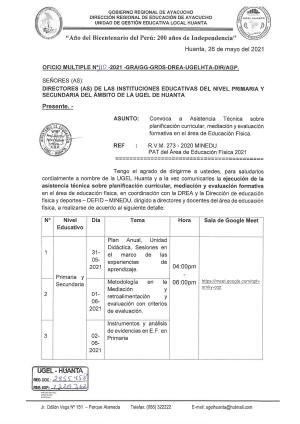 OFICIO MULTIPLE N° 110 - 2021 - GRA/GG-GRDS-DREA-UGELHTA-DIR/AGP