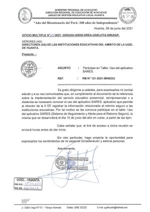 OFICIO MULTIPLE N° 125 - 2021 - GRA/GG-GRDS-DREA-UGELHTA-DIR/AGP