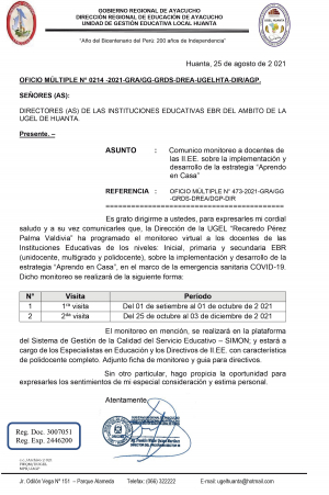 OFICIO MÚLTIPLE N° 0214 -2021-GRA/GG-GRDS-DREA-UGELHTA-DIR/AGP.