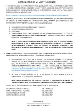 COMUNICADO DE MI MANTENIMIENTO
