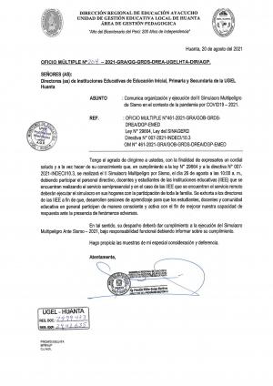 OFICIO MÚLTIPLE N° 204 - 2021 - GRA/GG-GRDS-DREA-UGELHTA-DIR/AGP.