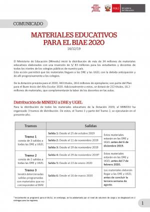 MATERIALES EDUCATIVOS PARA EL BIAE 2020