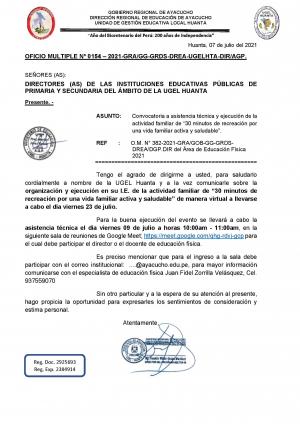 OFICIO MULTIPLE Nº 0154 – 2021-GRA/GG-GRDS-DREA-UGELHTA-DIR/AGP.