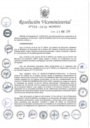 Resolución Viceministerial Nº 220-2019-MINEDU